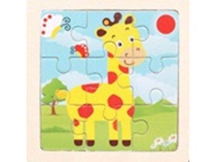 Dřevěné puzzle Žirafa 9 dílků