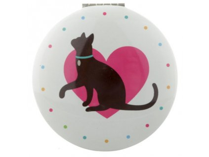 Zrcátko do kabelky s kočičkou v srdci