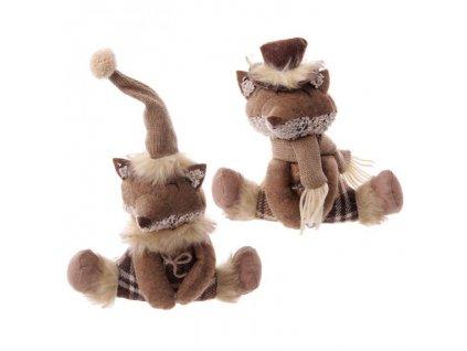 Zimní dekorace Sedící liška hnědá