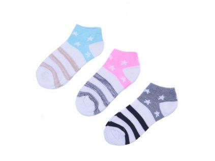Kotníkové ponožky s hvězdičkami 3 páry/set3 vel. 35-38