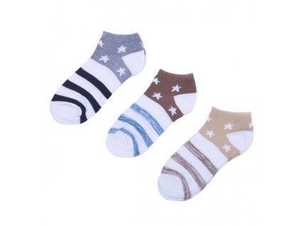 Kotníkové ponožky s hvězdičkami 3 páry/set4 vel. 35-38