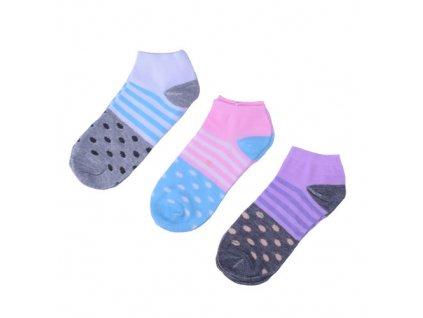 Ponožky s puntíky a proužky 3 páry/set4