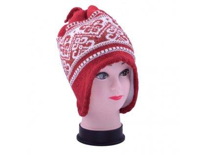Dětská zimní čepice se vzory červená