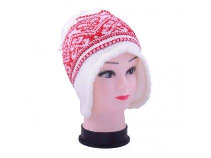 Dětská zimní čepice se vzory bílá