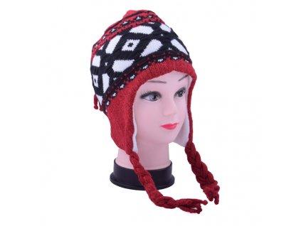 Dětská zimní čepice s copánky červená