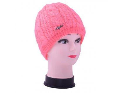 Zimní pletená čepice - neon růžová