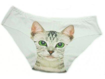 Dámské kalhotky s kočkou - bílá