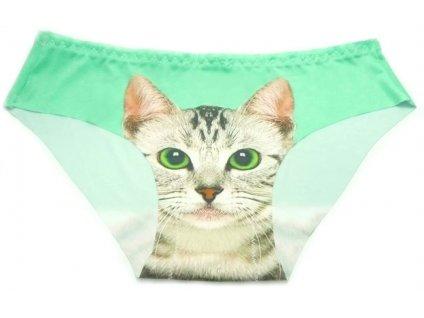Dámské kalhotky s kočkou - zelená