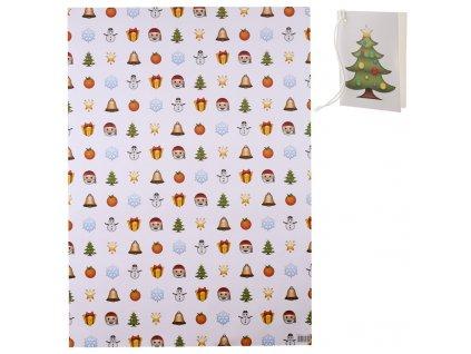 Balicí papír Vánoční emotikony 50x70 cm + visačka