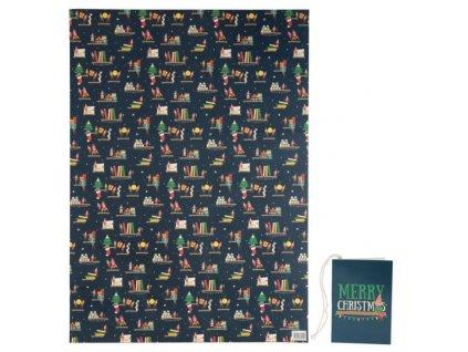 Balicí papír Vánoční skřítek 50x70 cm + visačka