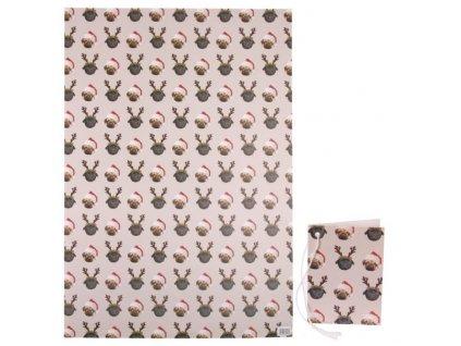 Vánoční balicí papír Mopsík 50x70 cm + visačka