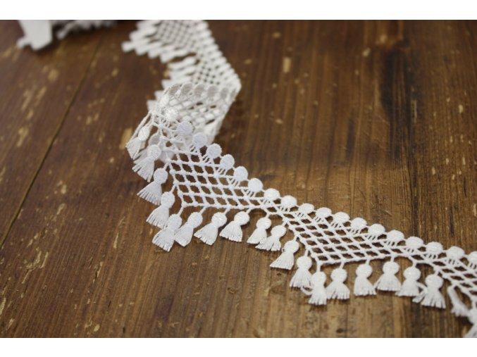 Bílá krajka s třásničkami, 40mm