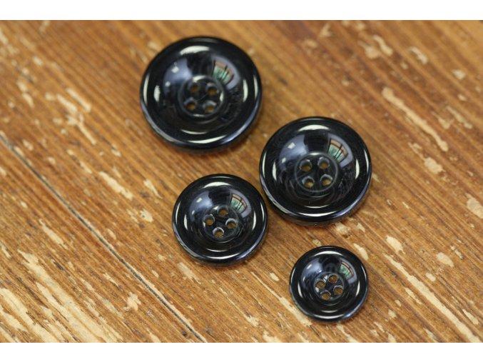 Černý melírovaný knoflík, 4 velikosti