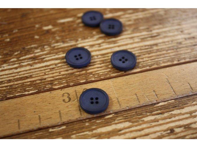 Modrý matný knoflík, 15 mm