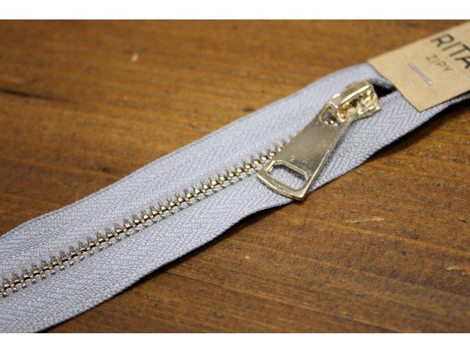 Světle šedý zip se zlatým kovem a dvěma jezdci, 90 cm