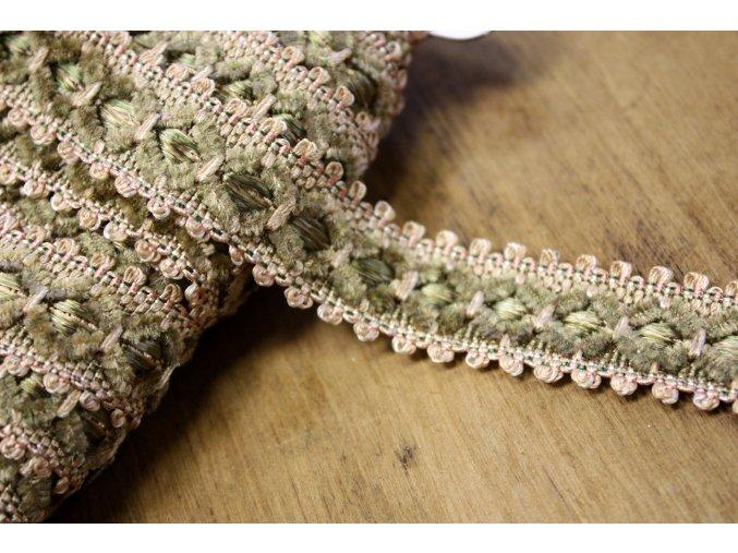 Žakárová stuha Samet se vzorem v barvách tabacco a starorůžová