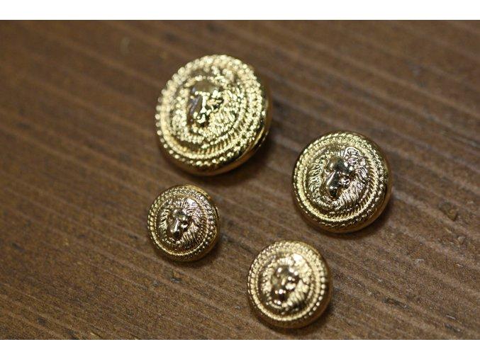 Zlatý knoflík se lvem, 25mm, 20mm, 17mm, 15mmm
