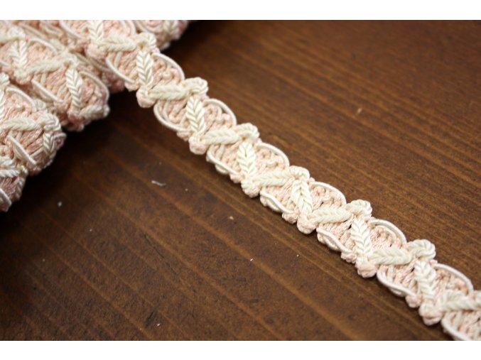 Světle růžový prýmek s bílou, 11 mm
