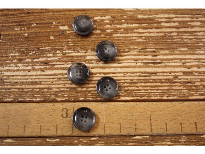 Šedý lesklý melírovaný knoflík, 15 mm