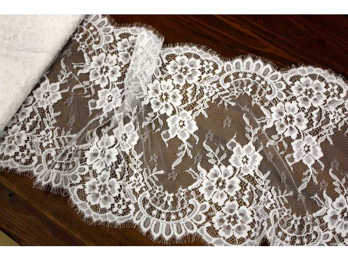 Bílá francouzská krajka s květy, 30 cm