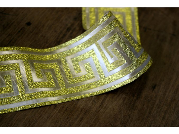 Zlatá žakárová stuha se vzorem Versace