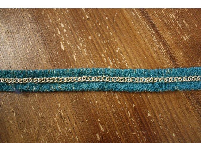 Tyrkysová bordura s řetízkem a lurexem