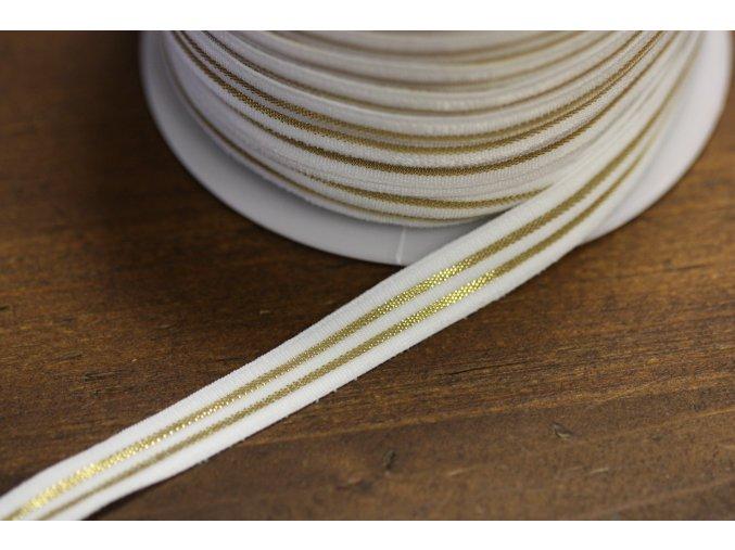 Jemná bílá guma se zlatým pruhem, 10mm