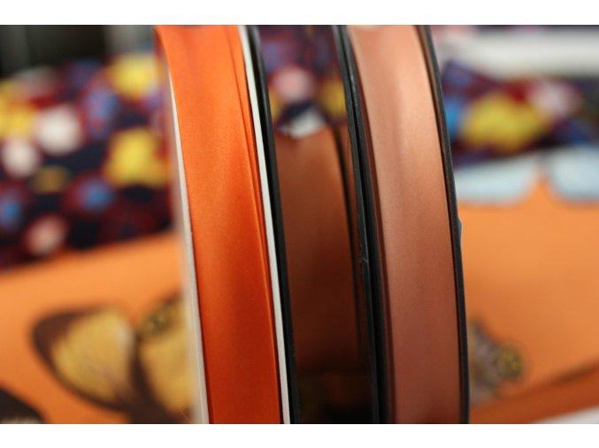 Saténový šikmý proužek, odstíny oranžové 14mm