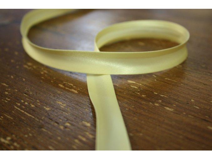 Saténový šikmý proužek, odstíny žluté 14mm