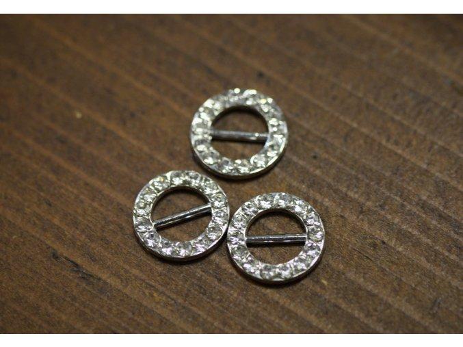 Stříbrný posunovač s kamínky, 10mm