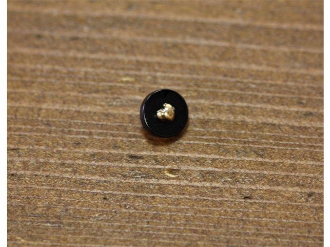 Černý knoflík se srdíčkem uprostřed, 10mm