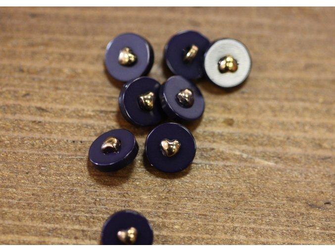 Modrý knoflík se srdíčkem uprostřed, 10mm