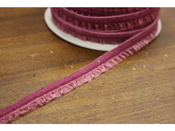 Tmavší starorůžová  sametová guma s volánkem