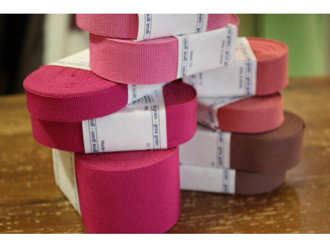 Rypsová stuha v odstínech růžové, 25mm