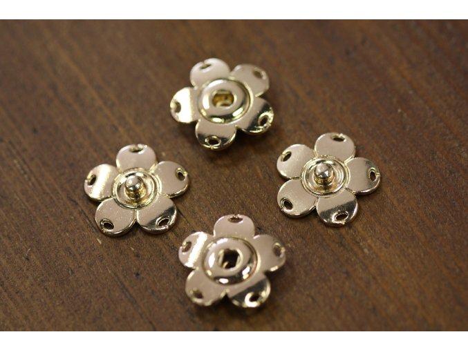 Zlaté patenty ve tvaru květinky, 25mm