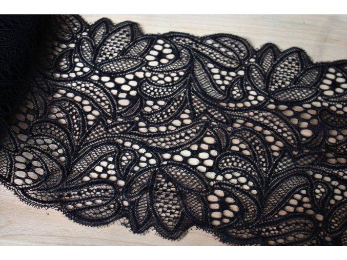 Černá pružná krajka s florálním vzorem, 17cm