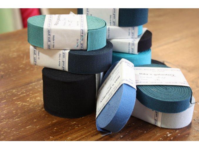Rypsová stuha v odstínech modré, 15mm