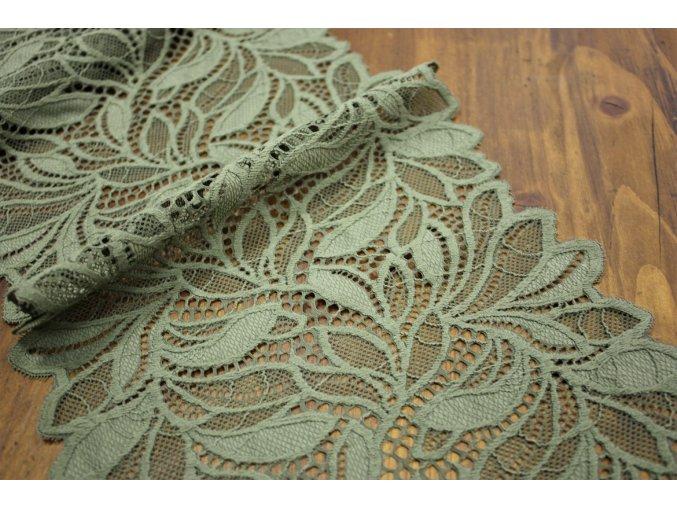 Zeleno-šedá pružná krajka, 18,5cm
