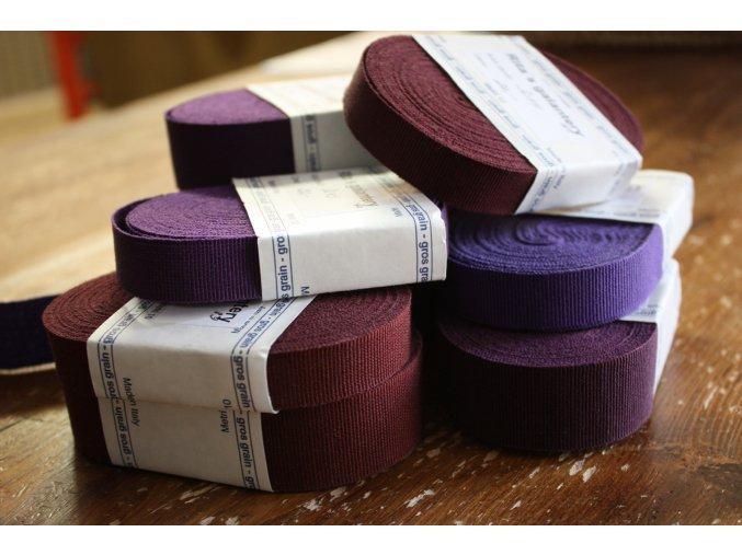 Rypsová stuha v odstínech fialové, 15mm