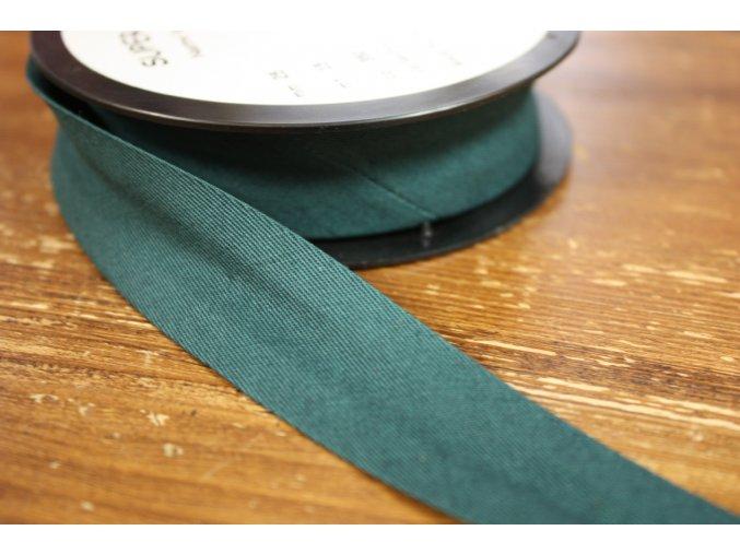 Zelený gabardénový šikmý proužek 15 mm, 25 mm