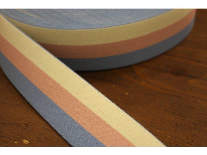 Pruhovaná guma v pastelových barvách, 4cm