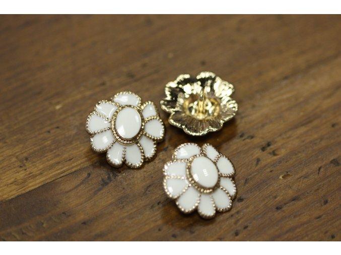 Zlato-bílý knoflík ve tvaru květiny stylu Chanel