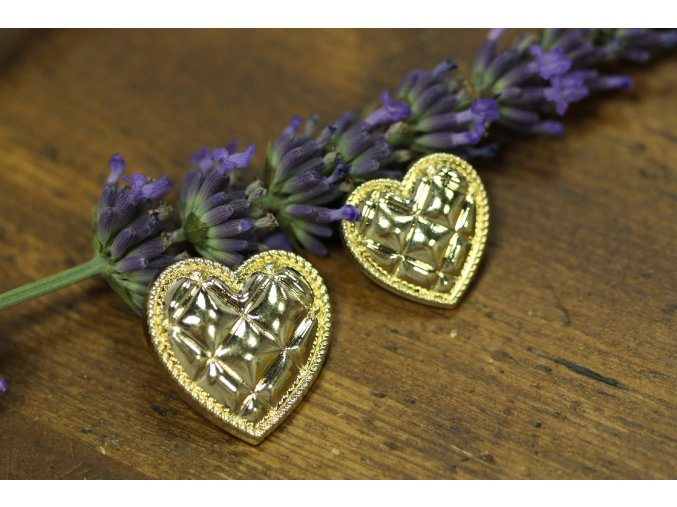 Zlatý knoflík ve tvaru srdce, 2 velikosti