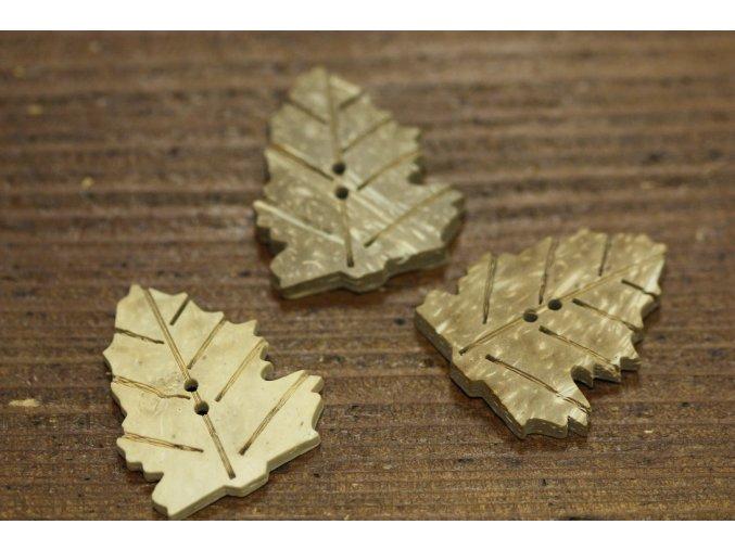 Dřevěný knoflík ve tvaru listu