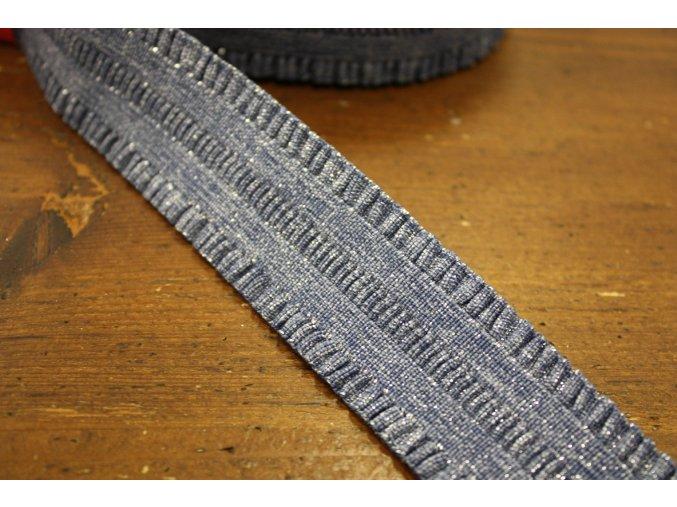 Ozdobná modrá guma s volánkem, 3,5cm