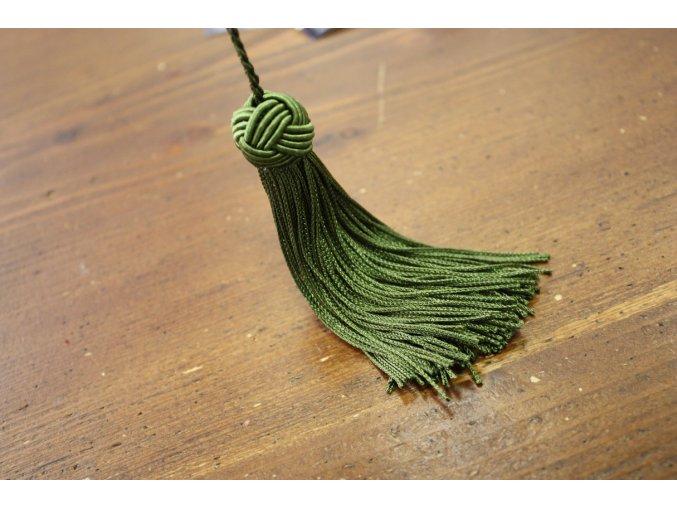 Střapce s uzlíkem v zelené barvě, 10 cm