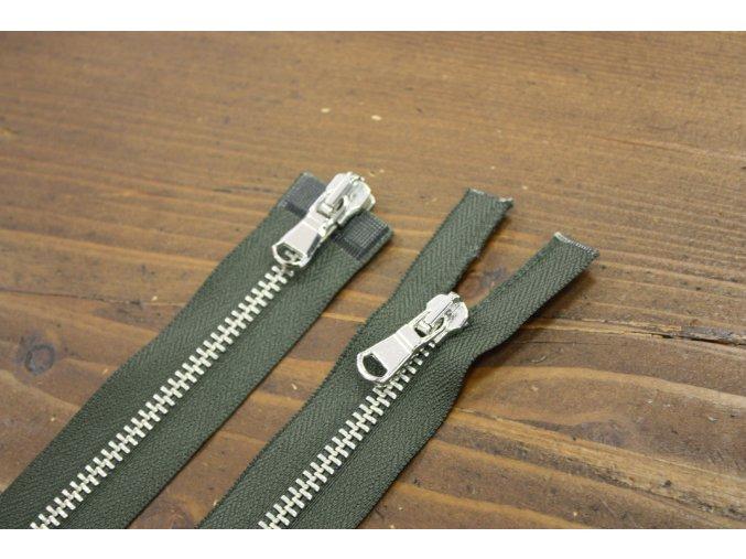 Khaki zip se stříbrným kovem s dva jezdci, 60cm