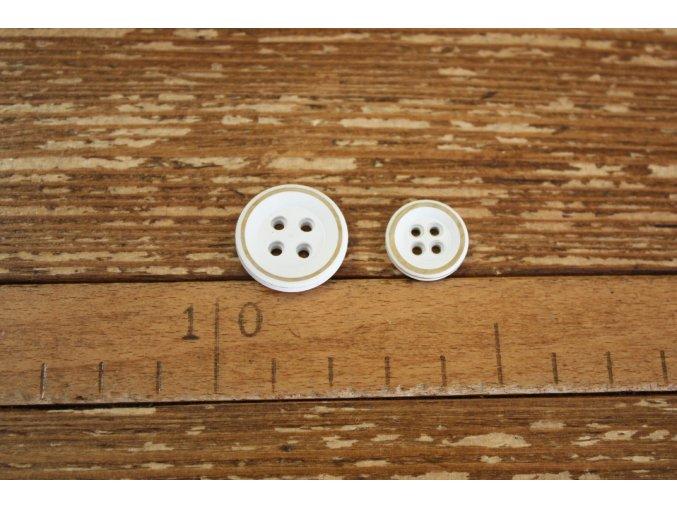 Bílý knoflík, 13 mm, 22 mm