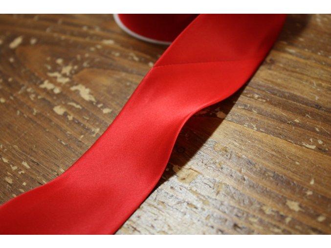 Saténový šikmý proužek, červený 40mm