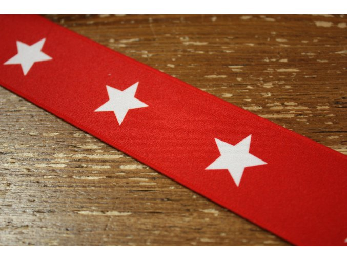 Červená guma s hvězdami, 40mm